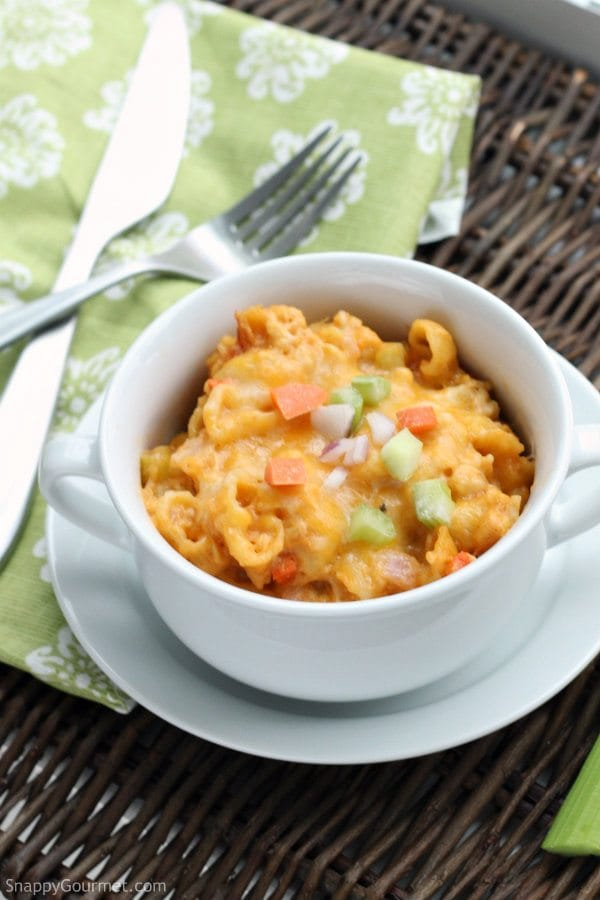 Slow Cooker Buffalo Chicken Macaroni and Cheese, easy crockpot mac & cheese recipe! SnappyGourmet.com