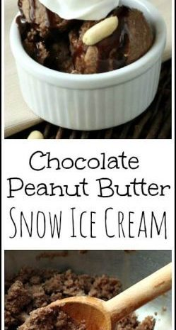 Chocolate Peanut Butter Snow Ice Cream recipe | Easy DIY frozen dessert with snow! SnappyGourmet.com