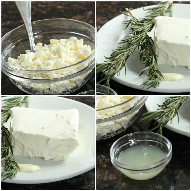 Feta spread ingredients: feta: rosemary, cream cheese, garlic, and lemon juice