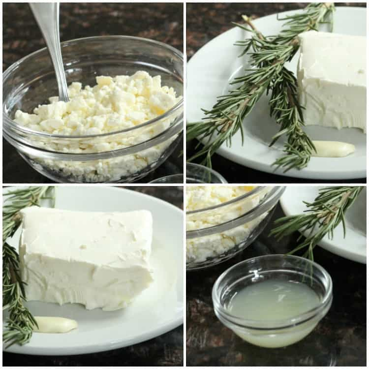 Feta spread ingredients: feta: rosemary, cream cheese, garlic, and lemon juice