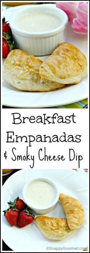 Breakfast Empanadas & Smoky Cheese Dip Recipe - easy homemade Mother's Day, Easter, or weekend breakfast! SnappyGourmet.com