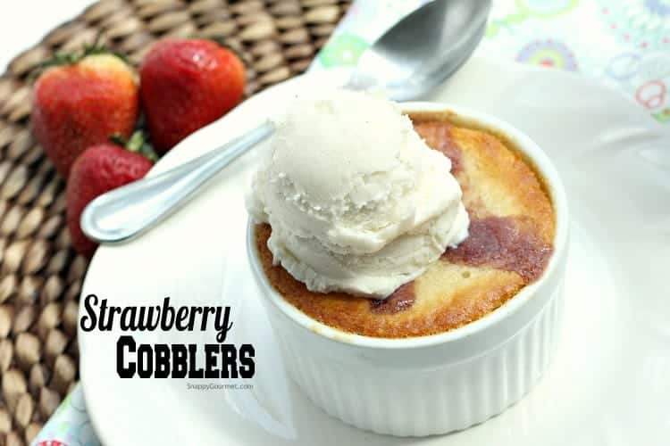 Strawberry Cobbler Recipe - easy strawberry dessert baked in individual ramekins