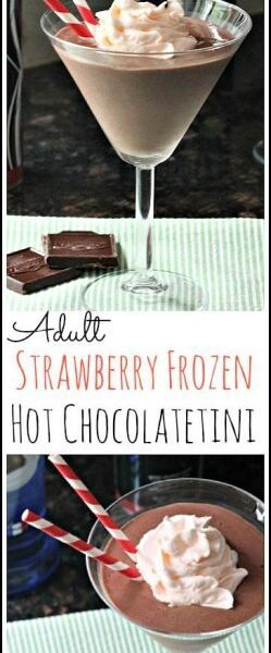 Adult Strawberry Frozen Hot Chocolatetini - easy chocolate dessert cocktail drink recipe | SnappyGourmet.com