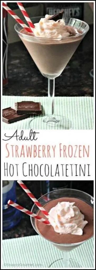 Adult Strawberry Frozen Hot Chocolatetini recipe - easy chocolate dessert cocktail drink recipe | SnappyGourmet.com
