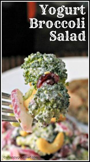 Yogurt Broccoli Salad Recipe - an easy homemade broccoli salad and side dish| SnappyGourmet.com