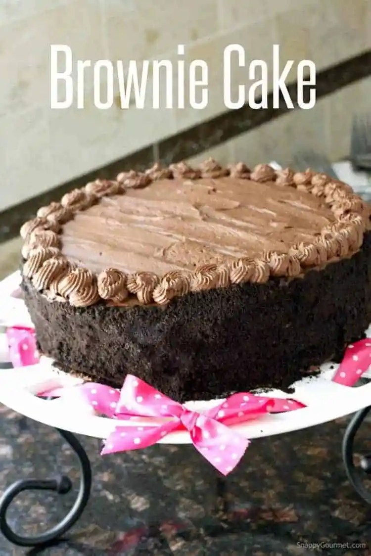 Homemade Birthday Chocolate Brownie Cake Recipe - a from scratch layered rich chocolate cake