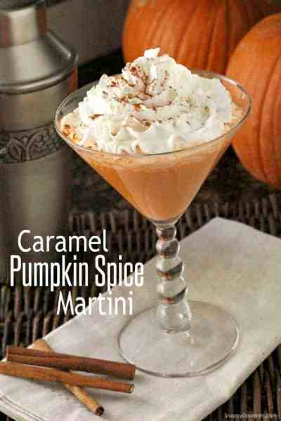 Caramel Pumpkin Spice Martini in martini glass with whipped cream