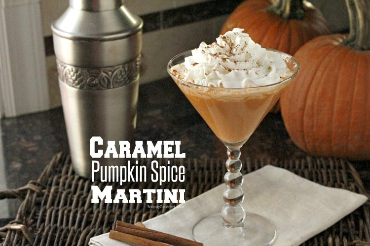 Caramel Spice Pumpkin Spice Martini with whipped cream in martini glass