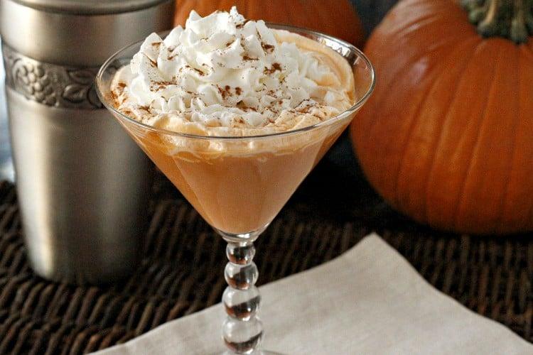 pumpkin spice martini in glass
