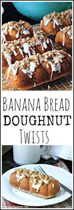 Banana Bread Doughnut Twists - easy homemade doughnut recipe   SnappyGourmet.com