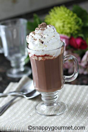Red Velvet Hot Chocolate Cocktail recipe | snappygourmet.com