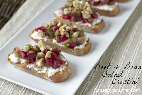 Bean & Beet Salad Crostini Appetizer Recipe @snappygourmet.com