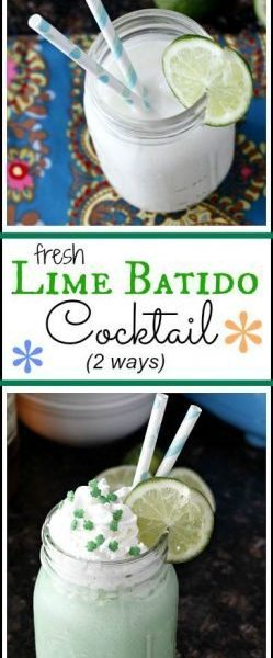 Fresh Lime Batido Cocktail Recipe - easy frozen drink for St. Patrick's Day, spring, or summer with mocktail options. SnappyGourmet.com
