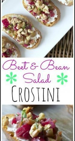 Beet & Bean Salad Crostini - easy appetizer recipe | SnappyGourmet.com