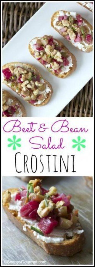 Beet & Bean Salad Crostini - easy appetizer recipe   SnappyGourmet.com