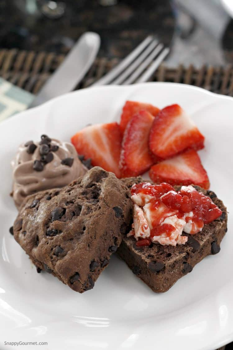 Chocolate Chocolate Chip Biscuits Recipe with Homemade Strawberry Butter