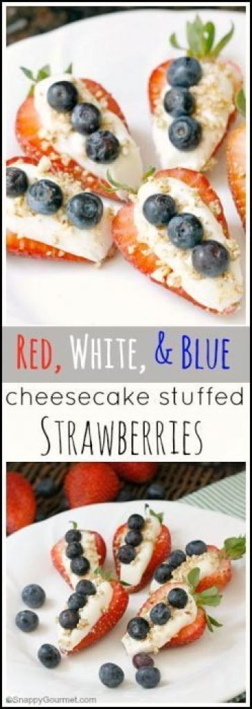 Red, White, & Blue Cheesecake Stuffed Strawberries Recipe - fun patriotic snack or dessert for 4th of July or summer parties! SnappyGourmet.com