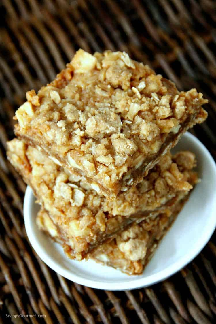 stack of caramel apple cookie bars