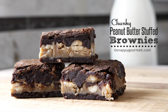 Chunky Peanut Butter Stuffed Brownies Recipe | snappygourmet.com