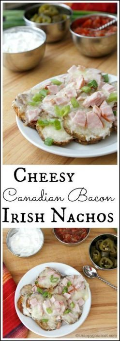 Cheesy Canadian Bacon Irish Nachos Recipe - easy party appetizer recipe   SnappyGourmet.com