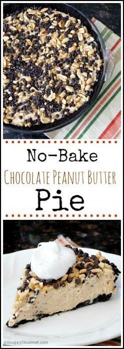 No-Bake Chocolate Peanut Butter Pie - an easy homemade pie! SnappyGourmet.com