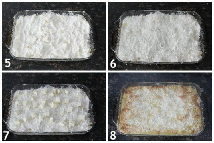 Piña Colada Dump Cake Recipe - Easy pineapple coconut cake recipe with not many ingredients. SnappyGourmet.com