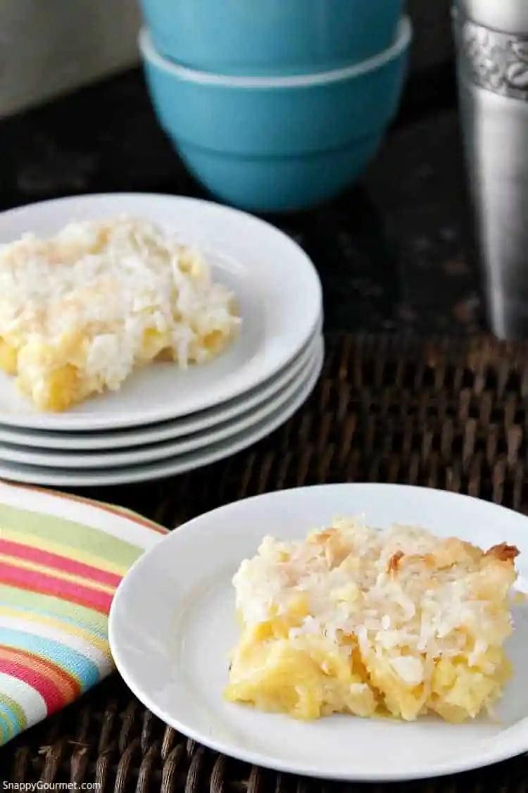 Piña Colada Dump Cake Recipe - Best dump cake recipe with pineapple and coconut. SnappyGourmet.com