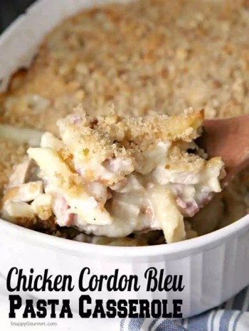 Chicken Cordon Bleu Pasta Casserole Recipe - easy chicken pasta casserole that is homemade