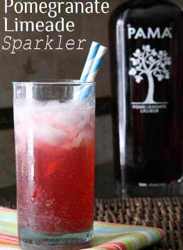 Pomegranate Limeade Sparkler Recipe - easy summer cocktail! SnappyGourmet.com
