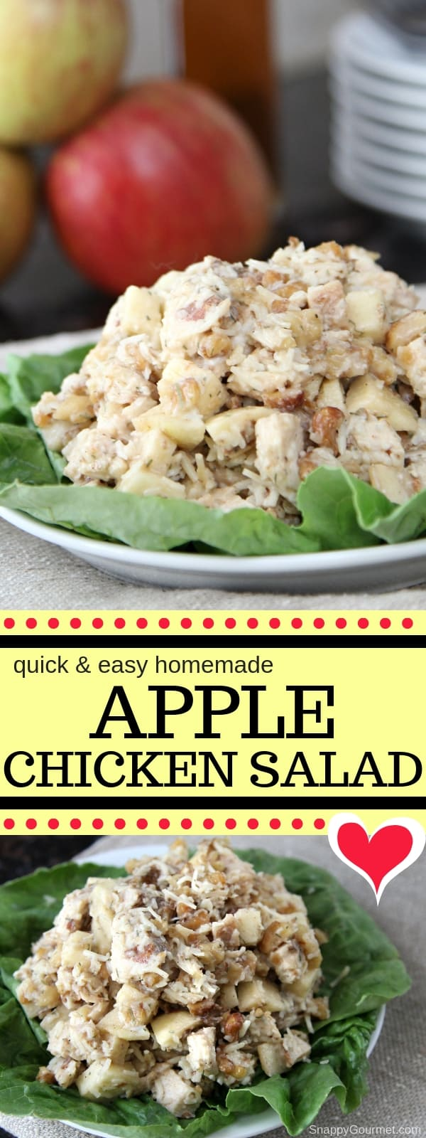 apple chicken salad on plate collage