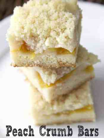 Peach Crumb Bars stacked on plate