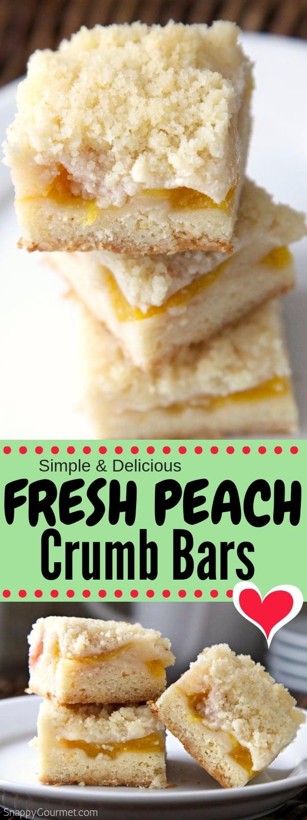 Peach Crumb Bars photo collage