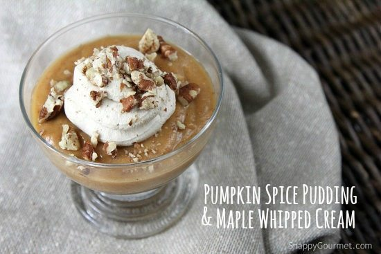 Homemade Pumpkin Spice Pudding with Maple Whipped Cream - an easy fall dessert recipe! SnappyGourmet.com