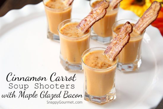 Cinnamon Carrot Soup Shooters with Maple Glazed Bacon Recipe - an easy and creamy carrot soup or appetizer. SnappyGourmet.com