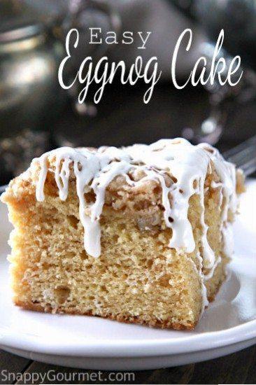 easy eggnog cake an easy christmas dessert recipe snappygourmetcom - Easy Christmas Desserts