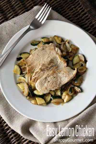 Easy Lemon Chicken Recipe- one pan dinner with zucchini and onions. Meal for one or more! SnappyGourmet.com