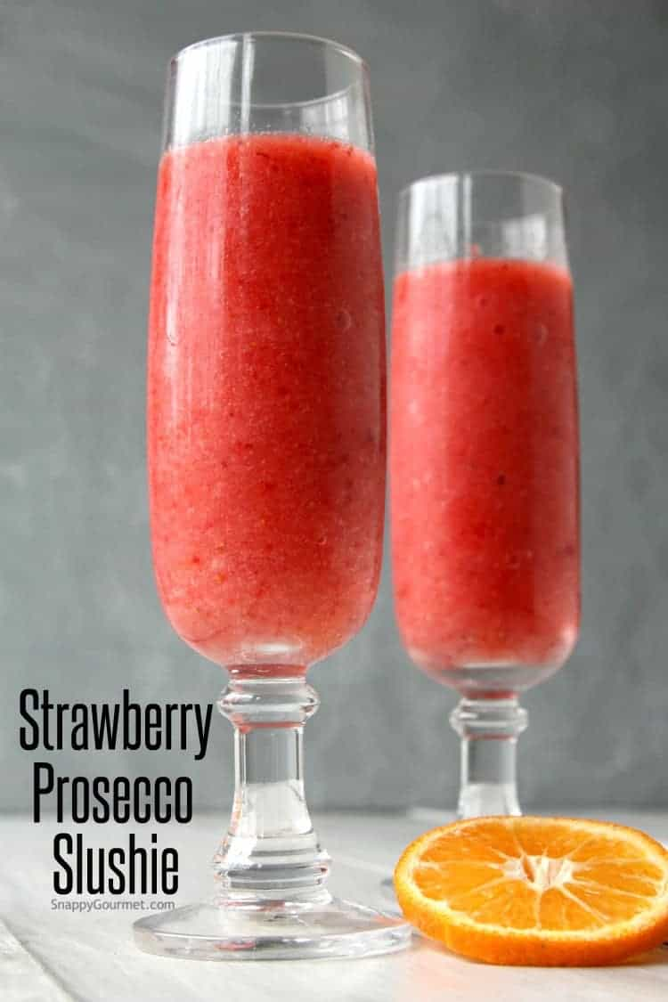 Strawberry Prosecco Slushie Cocktail Recipe - How to make a wine slushie at home with prosecco and frozen strawberries. SnappyGourmet.com