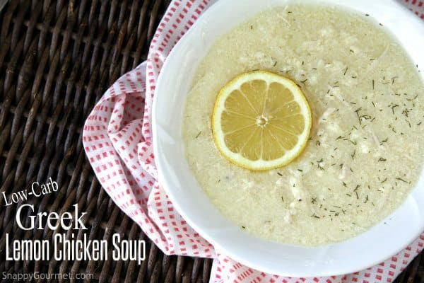 Easy Low-Carb Greek Lemon Chicken Soup (Avgolemono) recipe - Healthy lower carb version that is also gluten-free and dairy-free. SnappyGourmet.com