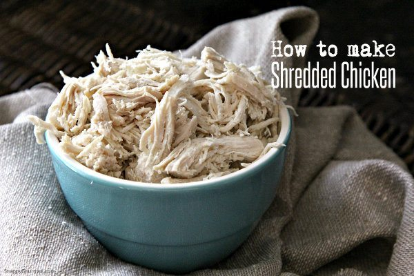 How to make shredded chicken at home that is quick and easy and made right on the stovetop! The best healthy chicken that is perfect in sandwiches, enchiladas, and many other meals! SnappyGourmet.com