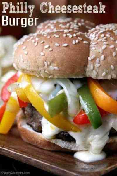 Philly Cheesesteak Burger - easy beef burger recipes topped with a quick cheese sauce and lots of onions and bell peppers   SnappyGourmet.com