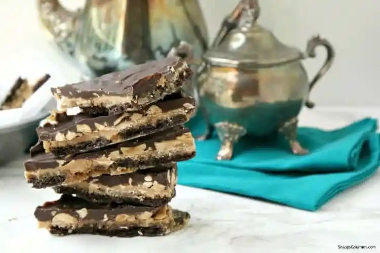 Crack Bars Recipe (Chocolate Peanut Butter Toffee Crackers) - easy cracker candy recipe with chocolate and peanut butter. SnappyGourmet.com