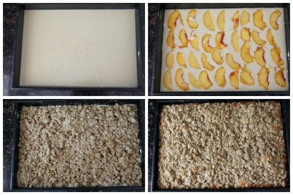 Peach Crumb Cake - easy crumb cake recipe, great for breakfast, snack, or dessert! Plus a secret ingredient! SnappyGourmet.com