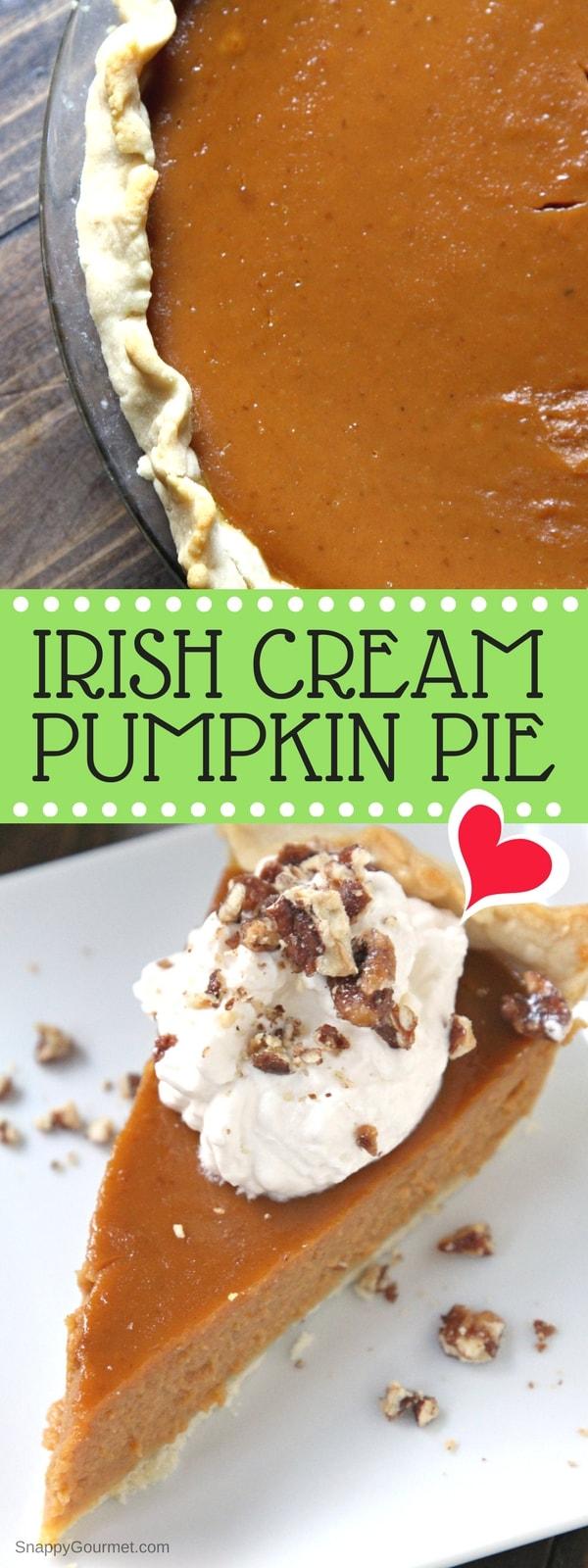 IRISH CREAM PUMPKIN PIE RECIPE - easy homemade pumpkin pie with Bailey's and from scratch pie crust!