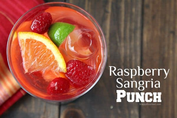 Raspberry Sangria Punch, easy white wine sangria drink recipe great for a holiday party! SnappyGourmet.com