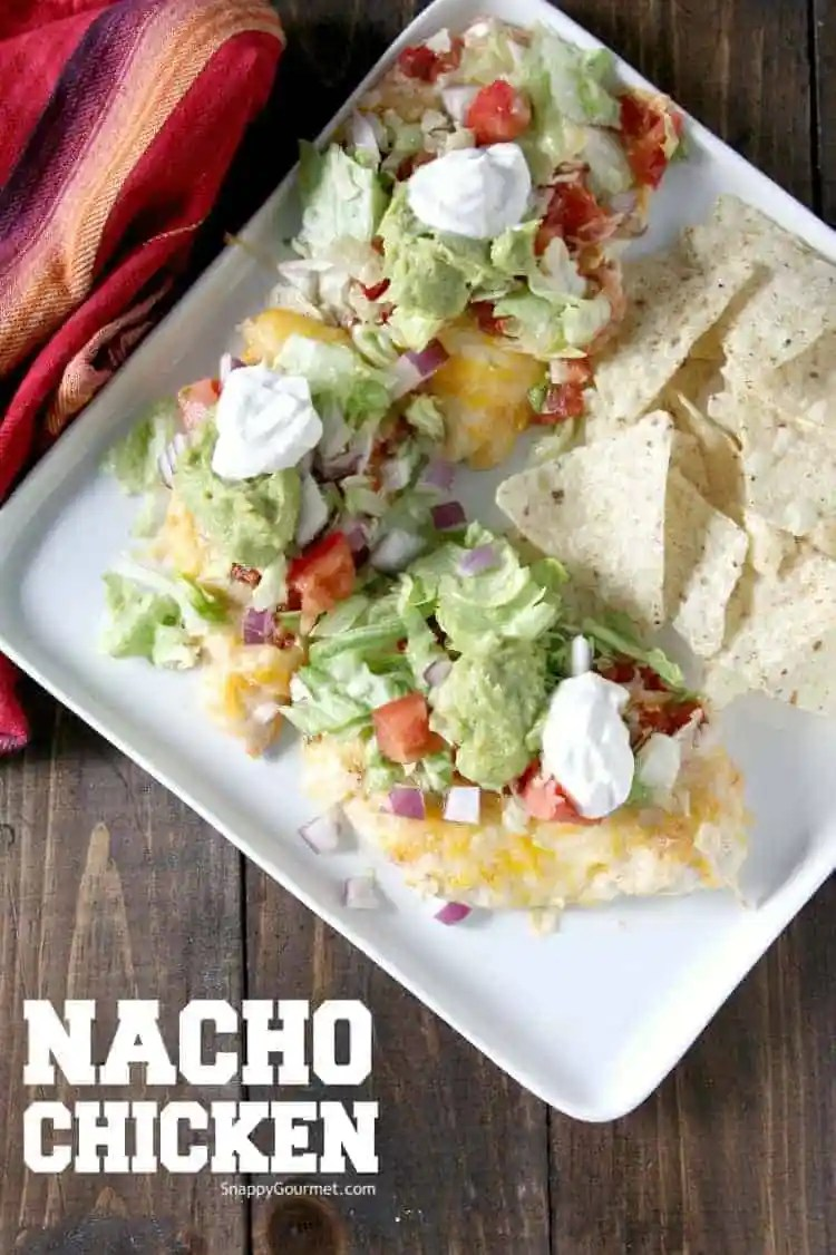 Nacho Chicken Recipe - 30 minute sheet pan dinner that is low carb baked chicken and kid friendly! SnappyGourmet.com