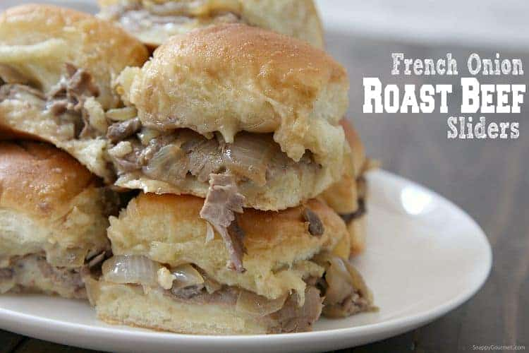 French Onion Roast Beef Sliders Recipe - as easy mini roast beef slider recipe baked in the oven