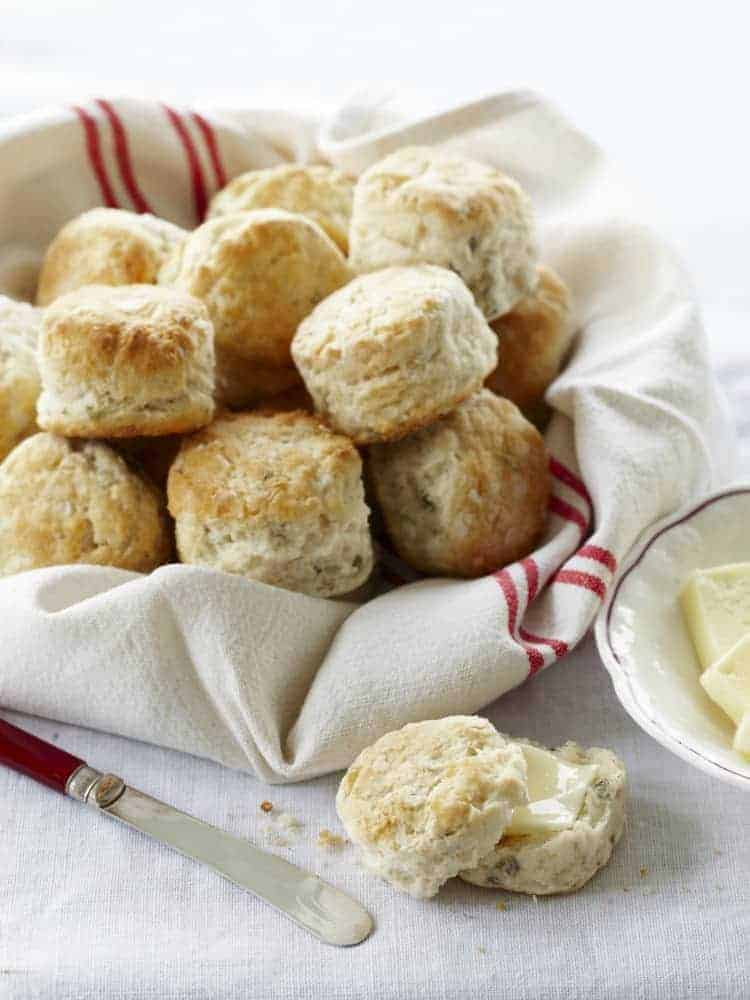 Fluffly Buttermilk Chive Biscuits - homemade biscuit recipe from my cookbook Kid Chef Bakes   SnappyGourmet.com