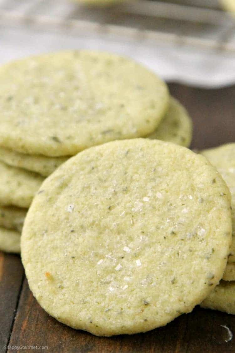 Mojito Cookies Recipe - easy shortbread cookie recipe based on the mint and lime cocktail. SnappyGourmet.com
