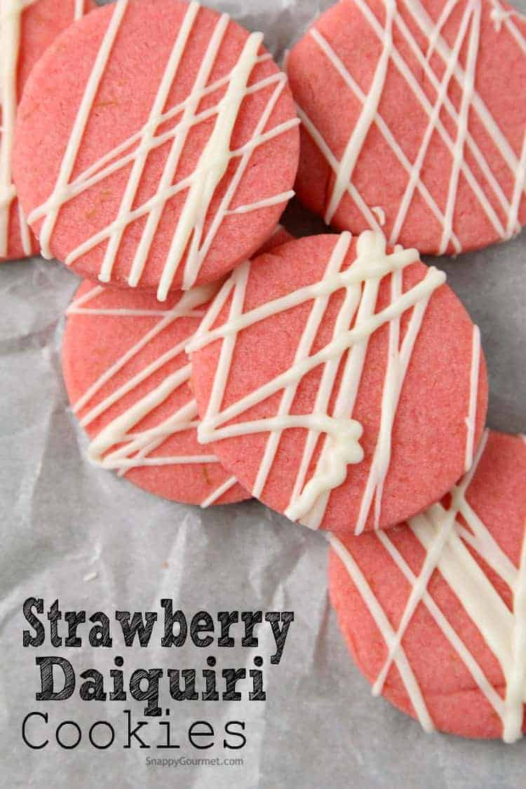 Strawberry Daiquiri Cookie Recipe - easy strawberry cookies with strawberry jello, lime and rum! SnappyGourmet.com