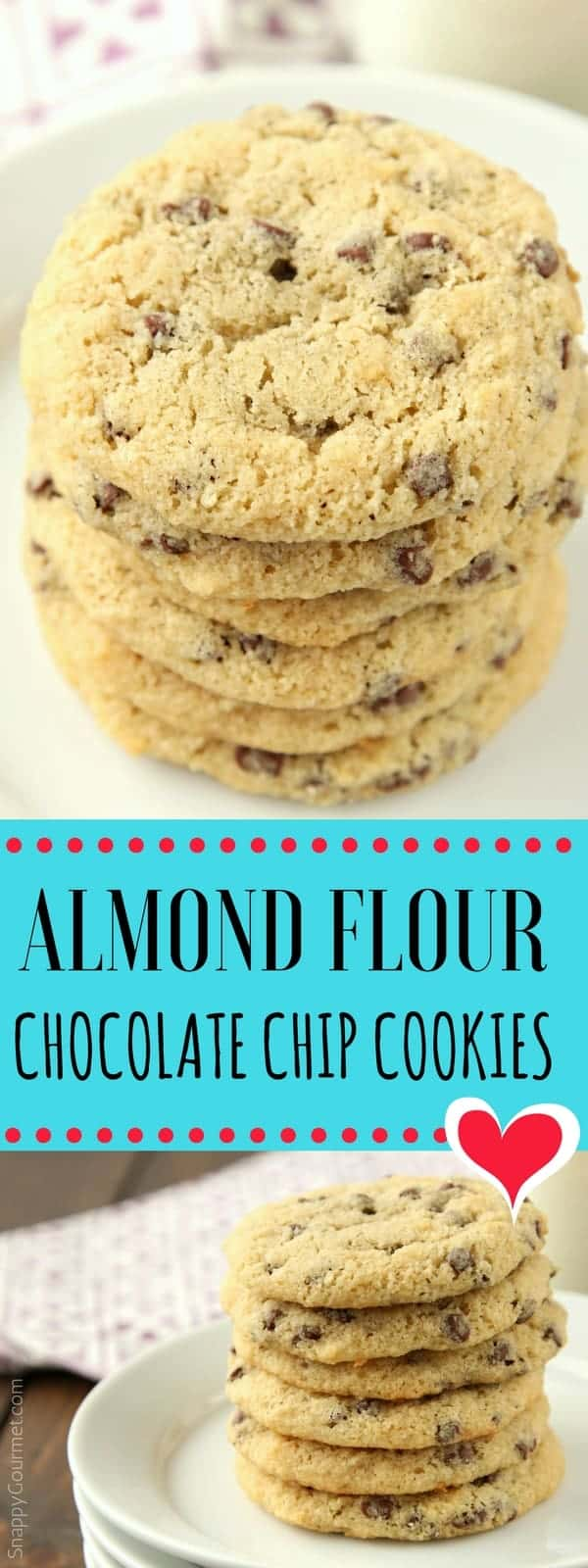 Almond Flour Chocolate Chip Cookies Recipe - easy low carb and gluten free almond flour cookies (pin)